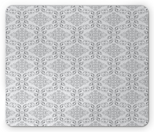 Ambesonne Grey Mouse Pad, Victorian Antique Tile Pattern with Royal Curlicues Old Rich Scroll Regency Motifs, Standard Size Rectangle Non-Slip Rubber Mousepad, Grey Pale Grey