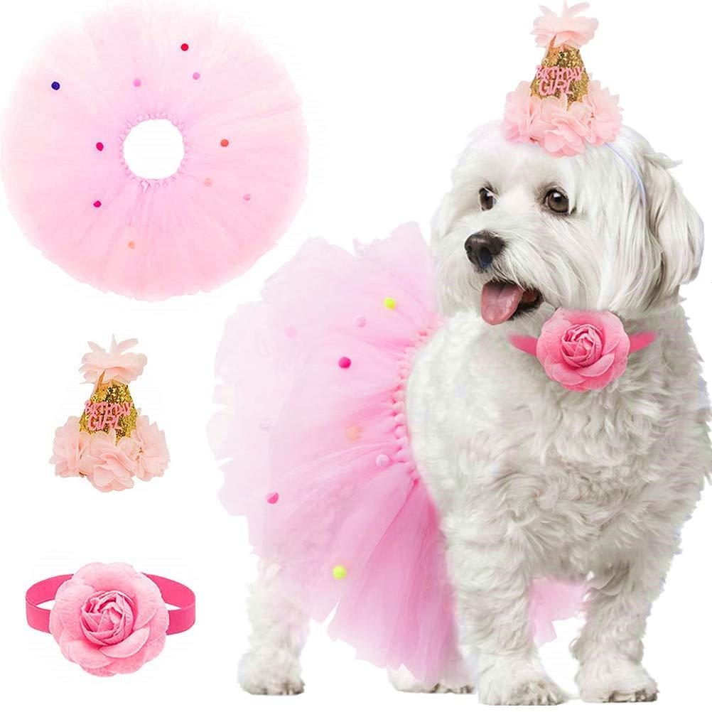SCENEREAL Dog Birthday Bandana Girl – Birthday Party Supplies -Tutu Skirt Hat Scarf Set for Pet Puppy Cat Girl,Pink…