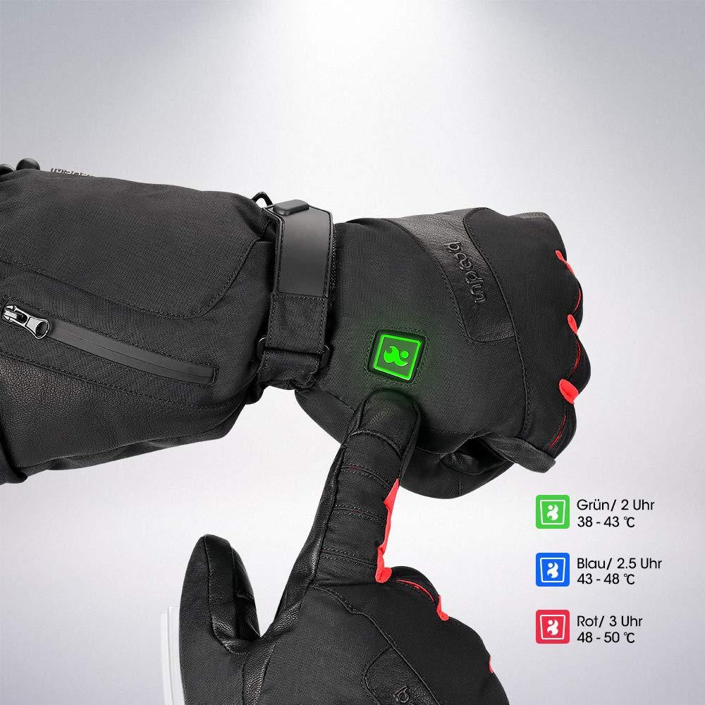 Motorradfahren funktioniert bis zu 2-4 Stunden Beheizbaren Handschuhe Beheizt Winter Akku Handschuhe mit Wiederaufladbare Lithium-Ionen-Batterie f/ür Winterski M Eislaufen