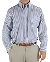 Gray and White Striped Sport Shirt - 80s 2-Ply