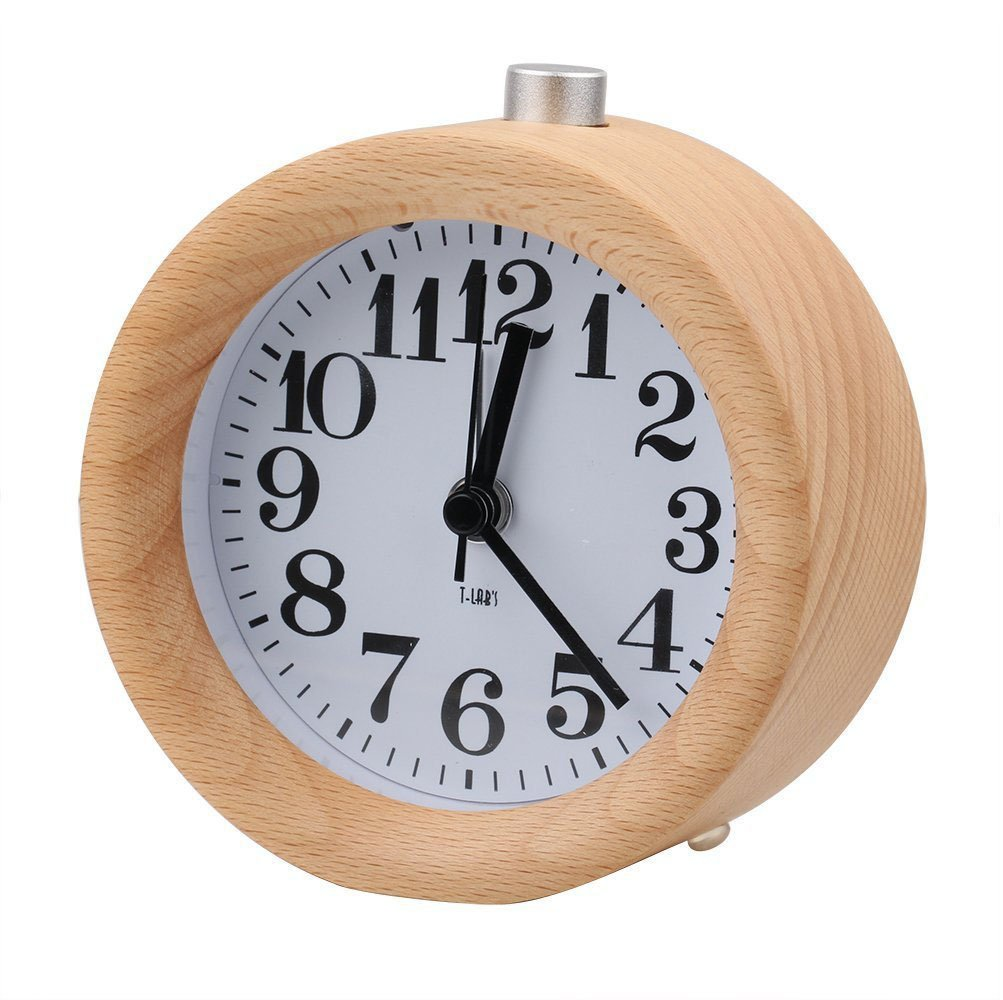 BestFire Classic Mini Wooden Round Silent Table Snooze Alarm Clock Bedside Alarm Clock Digital Desktop Alarm Clock with Warm Night Light for Home Bedroom Office Use