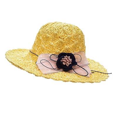 XiongDaDa Gorra, Salvaje Elegante Flores Sombrero De Paja Niña ...