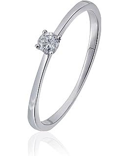 Diamantring weißgold 1 karat  Goldmaid Damen-Ring 585 Weißgold Solitär 1 Brillant 0,07 Karat ...