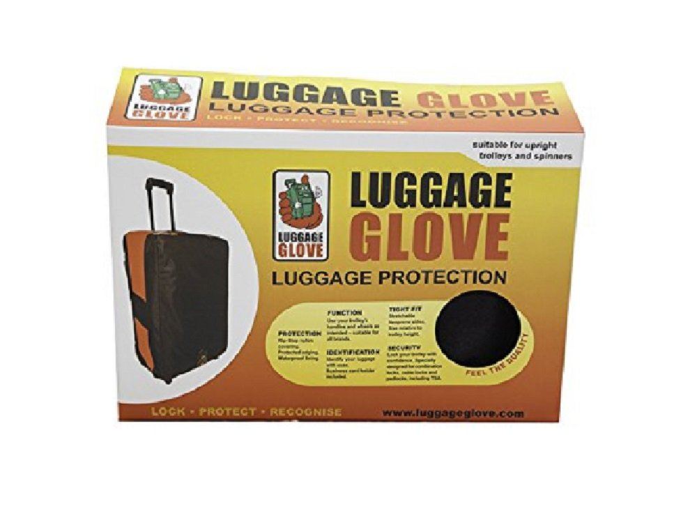 LuggageGloveUSA Protective Luggage Glove Cover in Black with TSA Approved Lock (Medium)