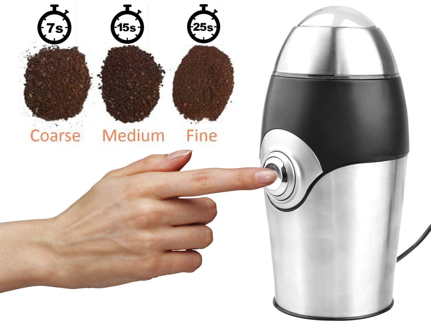 Electric Coffee Grinder Herb Grinder Spice Grinder Mini Grinder All-In-One, includes 1 oz Scoop and Cleaning Brush - 200 Watt by GoldTone (Image #2)