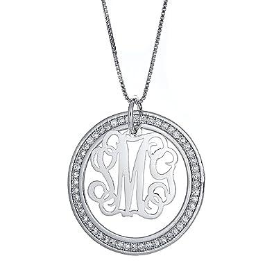 Amazon cz halo script single letter 925 sterling silver cz halo script single letter 925 sterling silver monogram pendant with chain 6 grams aloadofball Gallery