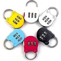 cijferslot, 6 stuks, cijferslot, hangslot, code 3 cijfers, mini-hangslot met cijfercombinatie, kleurrijk, voor losjes…
