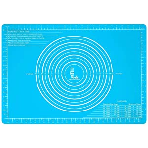 Silicone Pastry Mat Non Stick with Measurements(25.4''×17.7'')for Baking Mat Extra Large,Non Slip Silicon Dough Rolling Mat, Table/Countertop Placemats and Fondant/Pie Crust Sheet Blue
