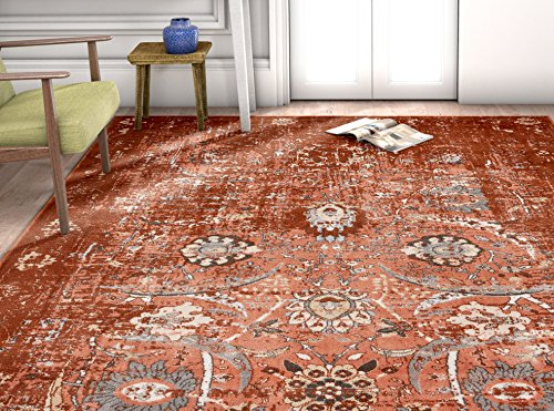 Well Woven KE-60 Vintage Distressed Rust Kensington Goa Copper Modern Oriental Area Rug 5'3