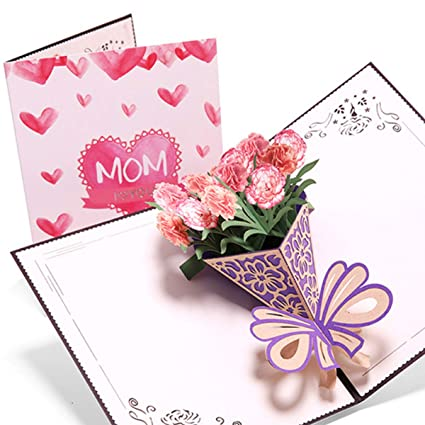 Amazon Carnation Blossom Pop Up Cards Mothers Day Card Mom