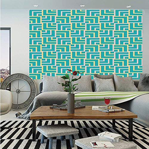 Turquoise Huge Photo Wall Mural,Art Deco Style Shapes Like Geometrical  Squares with Lines Image,Self-Adhesive Large Wallpaper for Home Decor  100x144 ...
