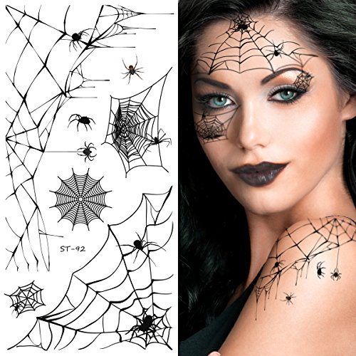 Supperb Temporary Tattoos - Horror Cobweb Spider Web Halloween Face Tattoos for $<!--$6.99-->