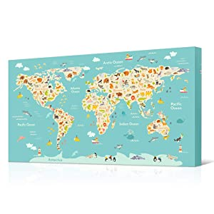 VVOVV Wall Decor Animal World Map Nursery Decor World Map Pictures Animal Poster Prints Art Kids Room Bedroom Decor Giclee Canvas Prints Stretched and Framed 20x36inch