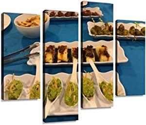 YKing1 and Assortment of Mexican Gourmet Meals and Desserts Mexican Food Wall Art Painting Pictures Print On Canvas Stretched & Framed Artworks Modern Hanging Posters Home Decor 4PANEL