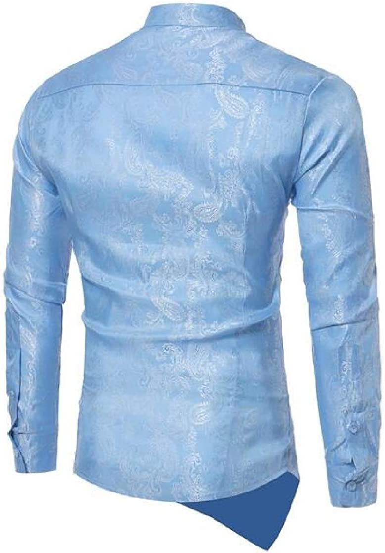 Macondoo Mens Irregular Hem Long-Sleeve Casual Embroidery Shirts