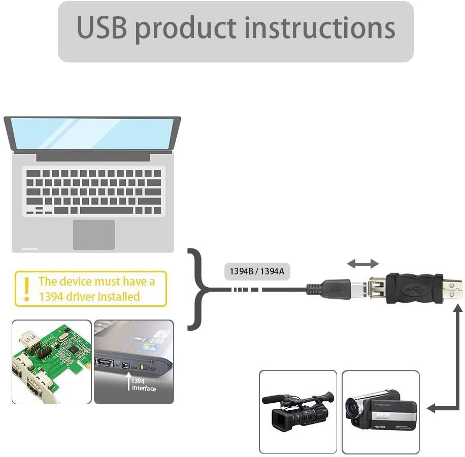 Yeleah Firewire Adapters USB Male to FireWire IEEE 1394 6 Pin Female Adapter 1 Pack