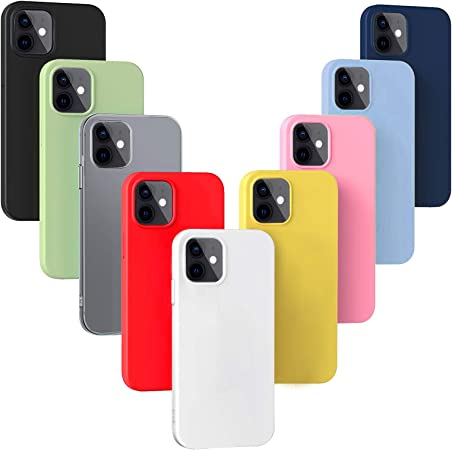 YiKaDa - 9 x Cover Compatibile con iPhone 12 / iPhone 12 PRO - [ Nero Rosso Blu Rosa Verde Traslucido Giallo Viola Chiaro Bianco ]