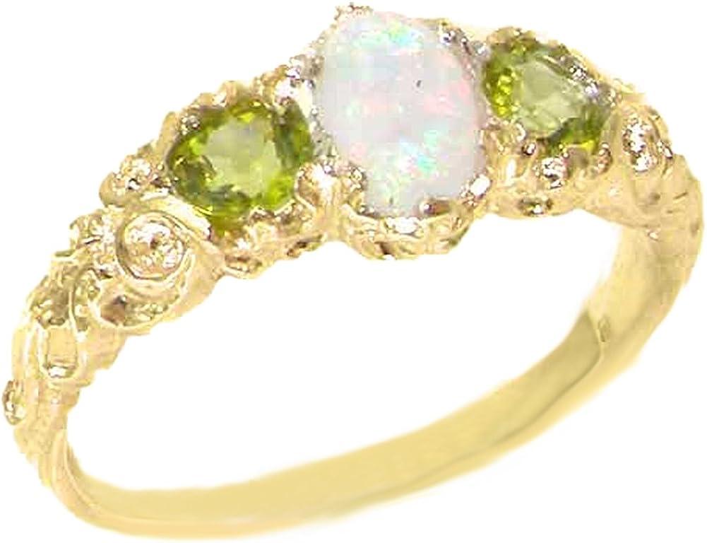 LetsBuyGold 10k Yellow Gold Real Genuine Opal & Peridot Womens Band Ring