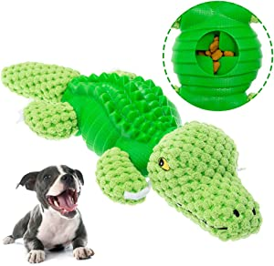 KOOLTAIL Interactive Dog Toys Food Dispensing Plush Dog Chew Toy with Squeaker Non-Toxic Elasticity Cute Shapes for Large Medium Dogs Trainting Playing Crocodile