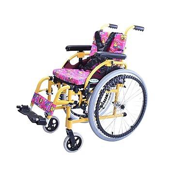 Silla de Ruedas, Silla de Ruedas de los niños de la aleación de Aluminio, Carretilla Manual perjudicada para Las Personas con discapacidades, ...
