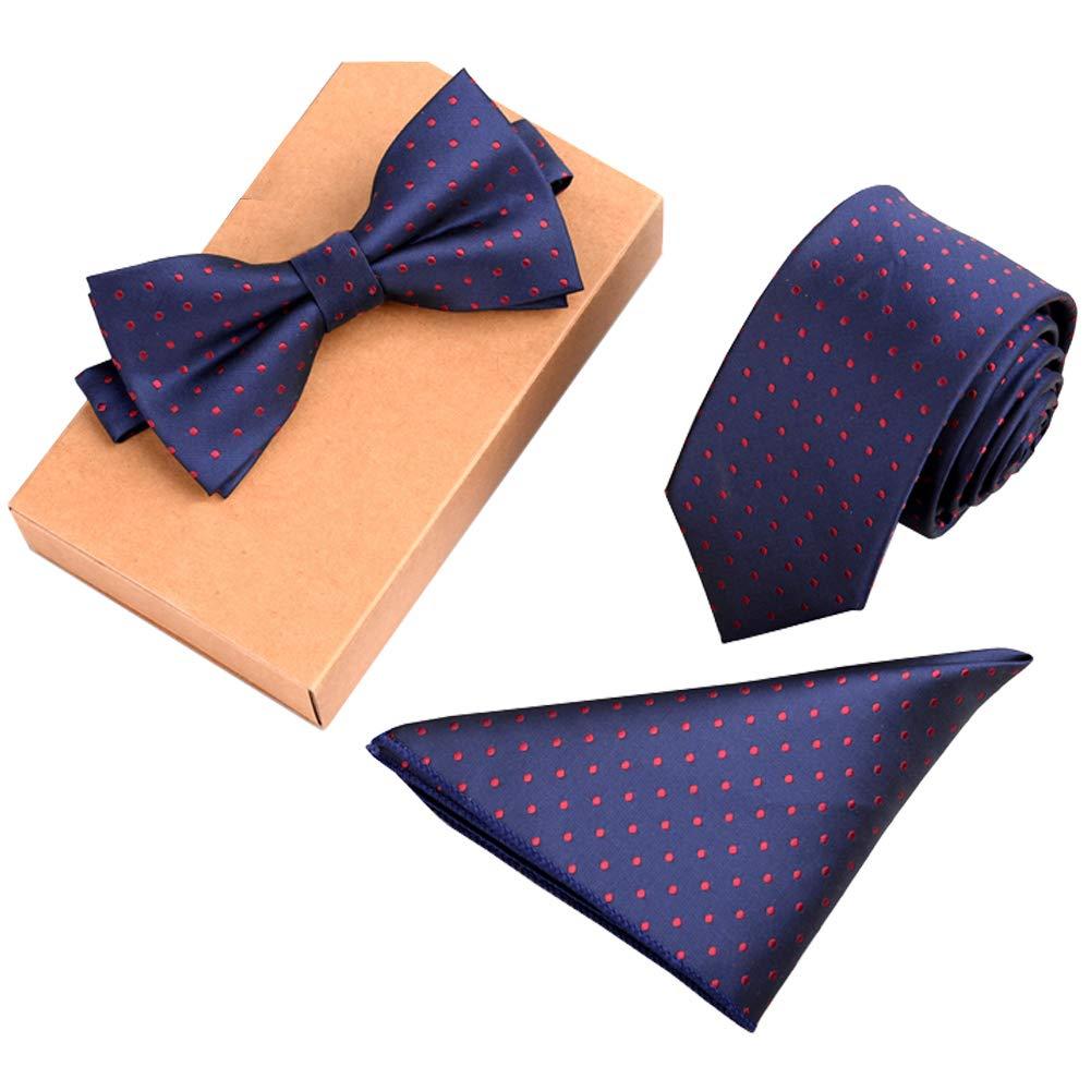 Lanburch Fashionable Premium Formal/Informal Ties Set, Necktie/Bow Tie/Pocket Square for Mens/Boys, Red Polka Dot