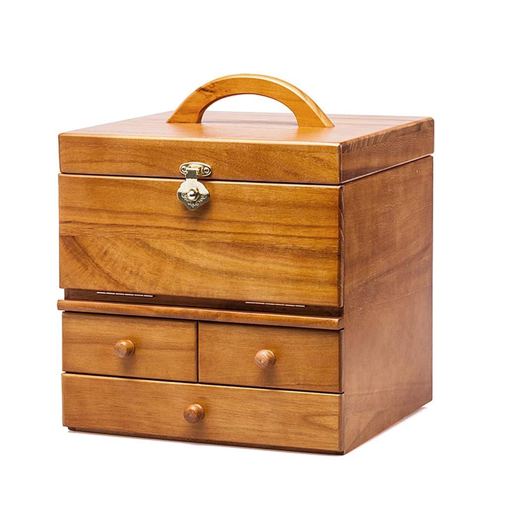 純木化粧品ケース化粧品収納ボックス大容量の化粧箱ヨーロッパの宝石箱ヴィンテージハンドジュエリー箱鏡付き化粧台ギフト (Color : Wood color, Size : 28.7*27*29.5cm) 28.7*27*29.5cm Wood color B07Q1KW3BR