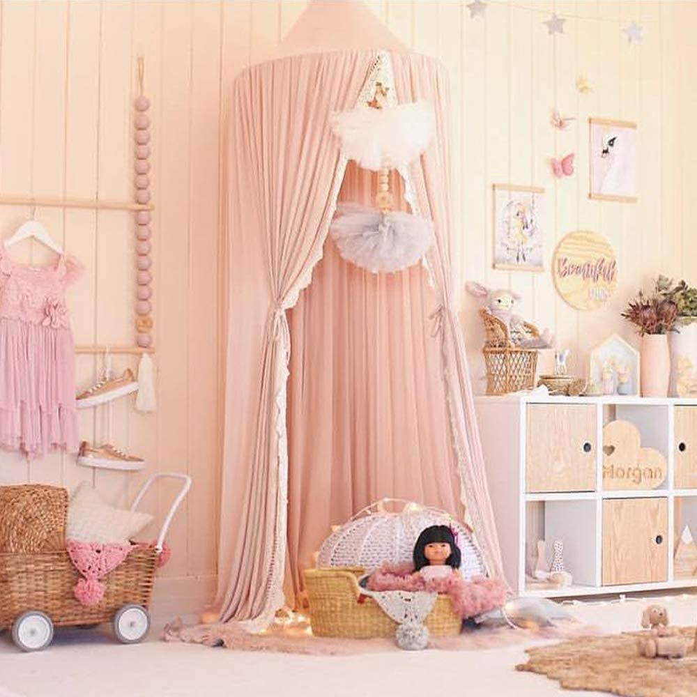Princess Dome Bed Canopy Mosquito Net Kids Play Tent Crib Netting Hanging House Room Decoration for Baby Kids Indoor Outdoor Playing Reading