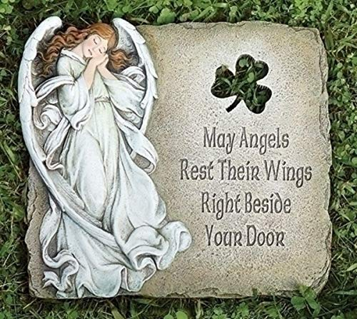 Garden Stone Angel and Shamrock Decorative, 10 Inch
