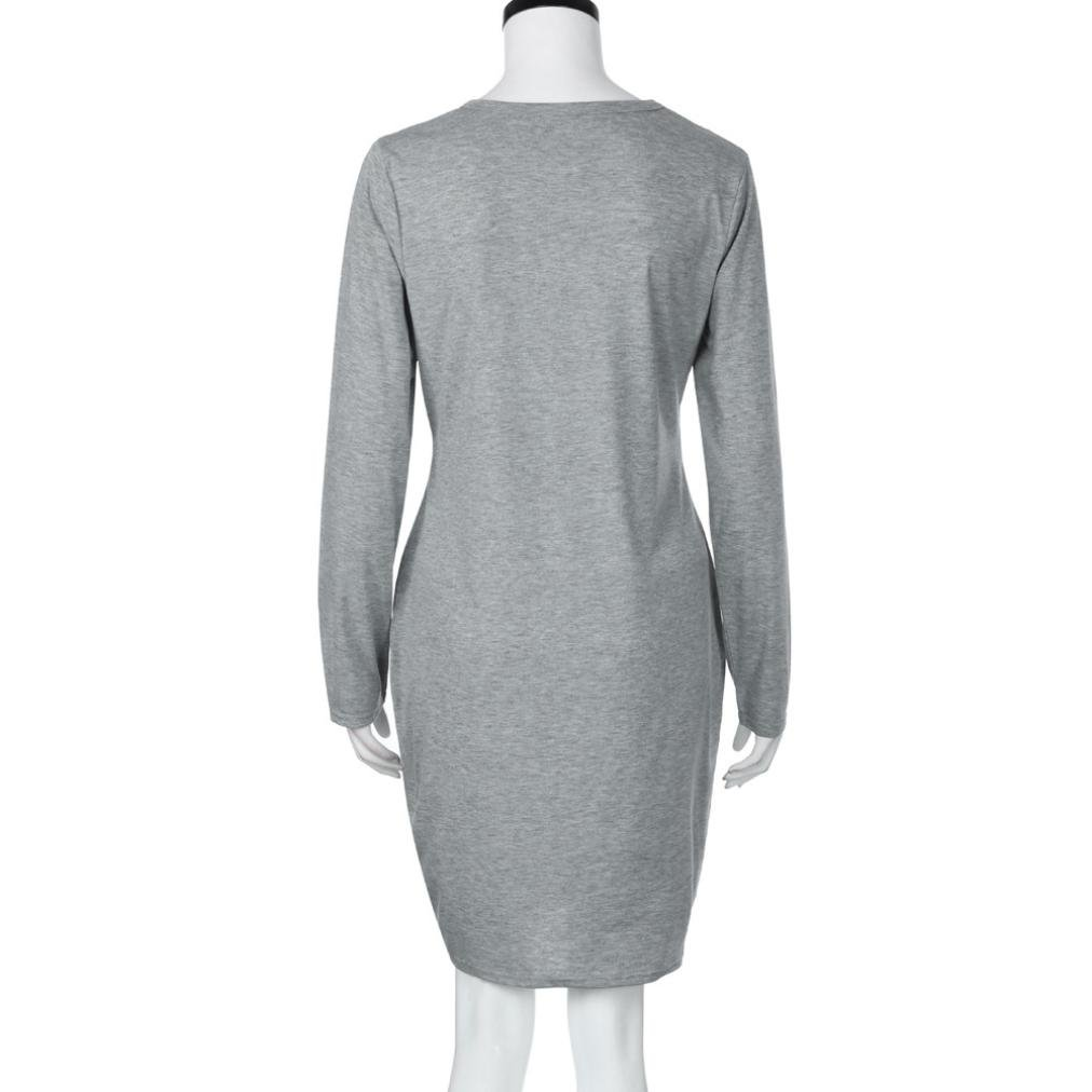Vestido mini para embarazadas, de moda con cuello en O y manga larga, vestido informal y suelto para maternidad y lactancia blanco gris M: Amazon.es: ...