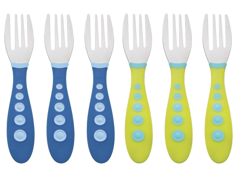 Gerber Stainless Steel Tip Kiddy Cutlery Forks - 6 Pack, Blue/Green