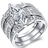 MABELLA Sterling Silver Trio Cubic Zirconia CZ Marquise Wedding Ring Set for Women