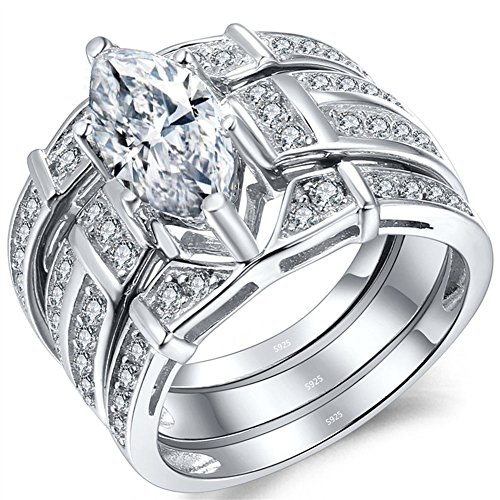 (MABELLA Trio Sterling Silver Cubic Zirconia CZ Marquise Wedding Ring Set Anniversary for Women)