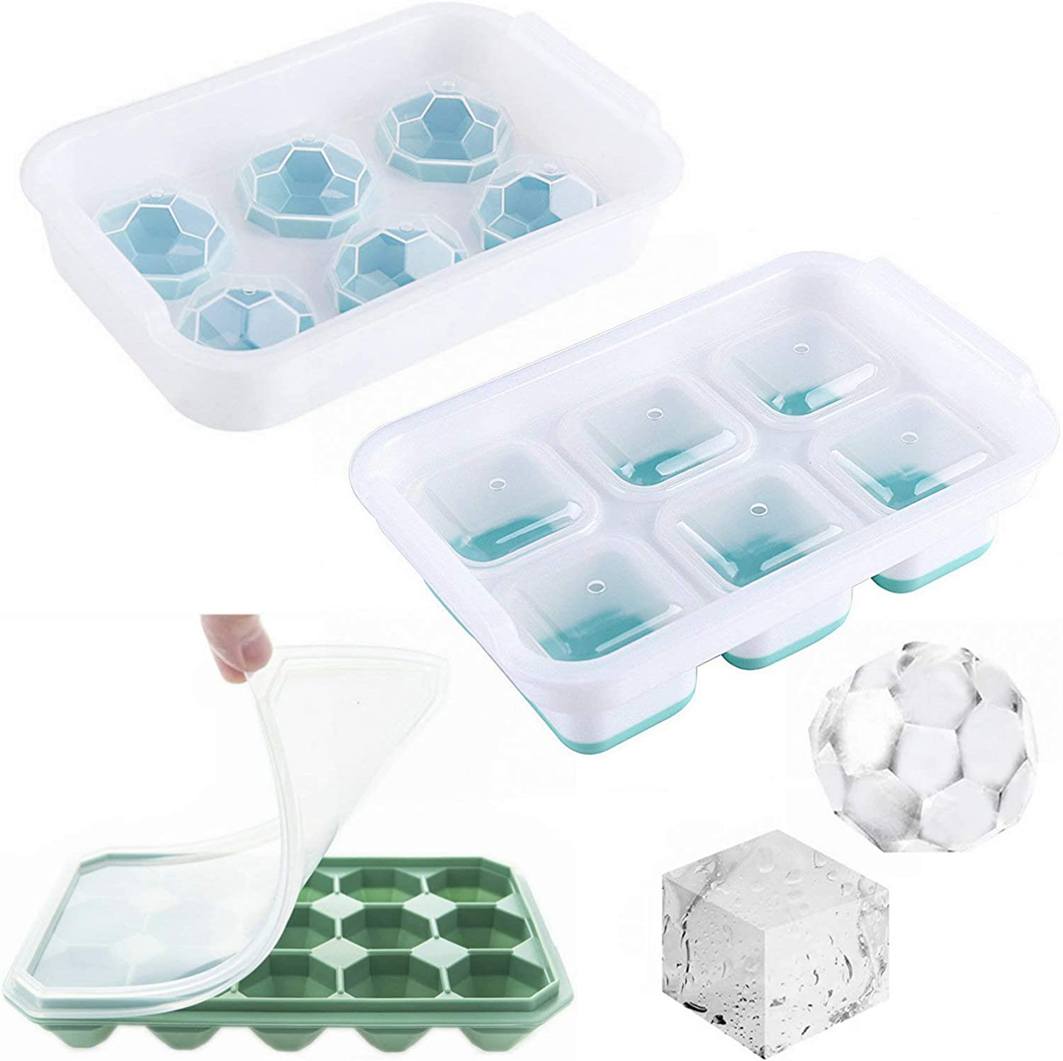 Arestle 3 pack Food Safe Large 6 Square/6 Sphere Ball/ 15 Diamond Ice Cube Trays with Lid for Whiskey, Cocktails, Wine, Juice, Baby Food (Aqua)