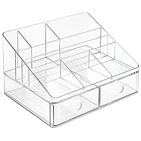 Desk Organizer, Clear Acrylic Desk Organizer for Office Desk Supplies Accessories Storage, Large Office Supplies Organizer Caddy with Two Drawers, File Shelf, Pen Dispenser, Power Charging Station DYCacrlic