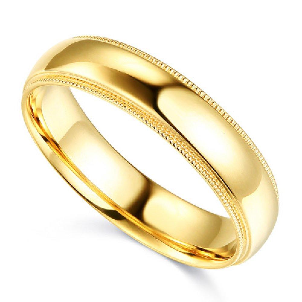 14K Solid Yellow Gold 5MM Plain Regular Fit Milgrain Wedding Band, Size 7