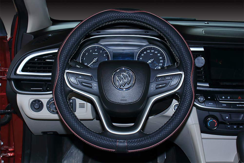 Istn Microfiber Leather Car Steering Wheel Cover Universal 15 inch//38CM Breathable Anti-slip Protector for Auto//Truck//SUV//Van Black Blue