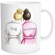 Bride Gift For Wedding Day From Maid Of Honor Bridesmaids, Bridal Party Favors From Best Friend, Coffee Mug White Color Ceramic 11 oz