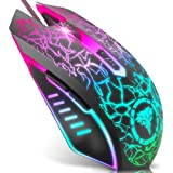 BENGOO Gaming Mouse Wired, USB Optical Computer Mice with RGB Backlit, 4 Adjustable DPI Up to 2400, Ergonomic Gamer…