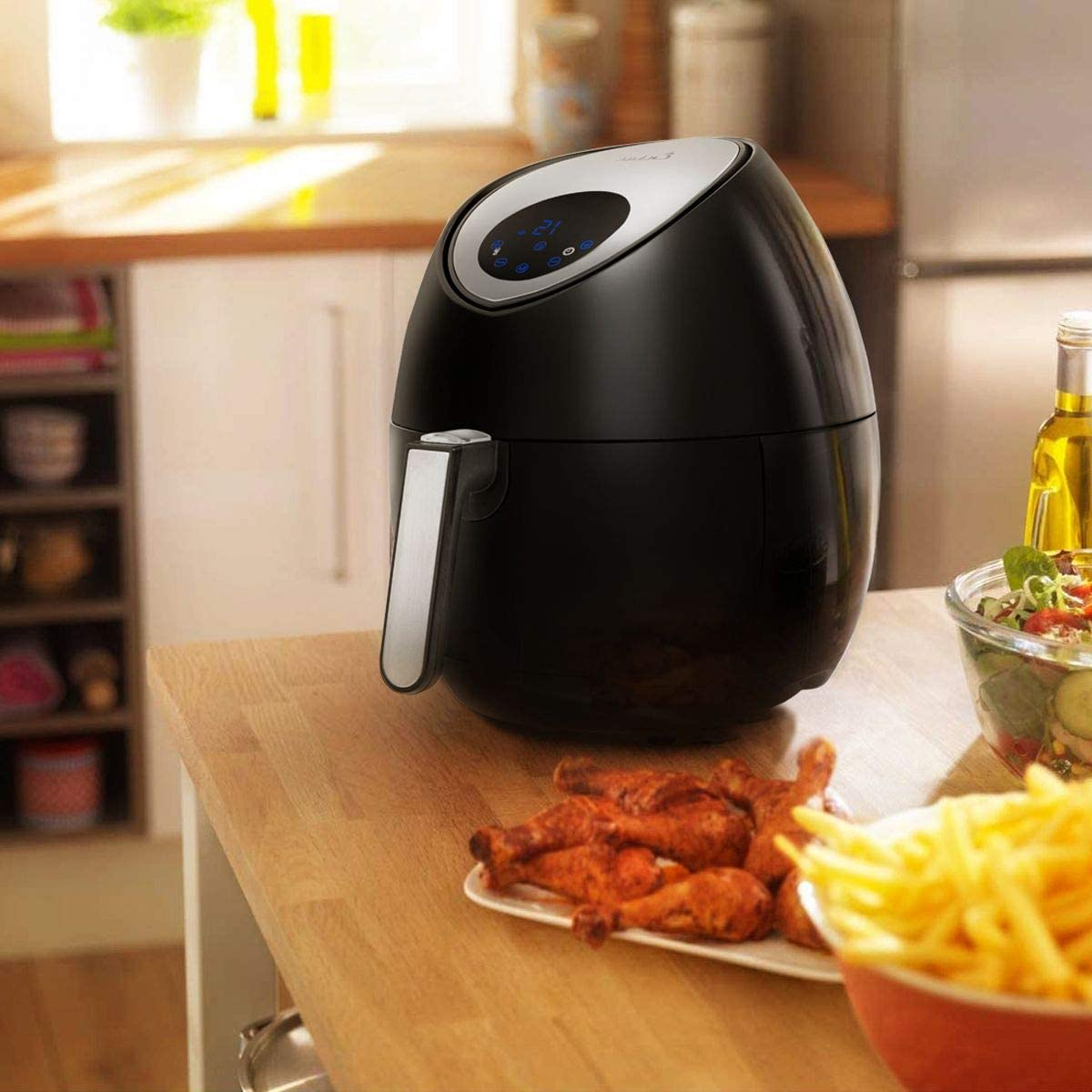OKSLO Ensue 3.7 quart touch screen digital panel air fryer cooker 7 cooking sets, blac