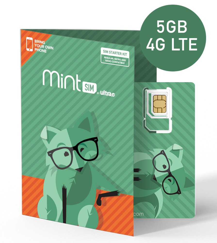 $20/month Mint SIM Wireless Plan | 5GB of 4G LTE Data + Unlimited Talk & Text for 3-Months (3-in-1 GSM SIM Card)