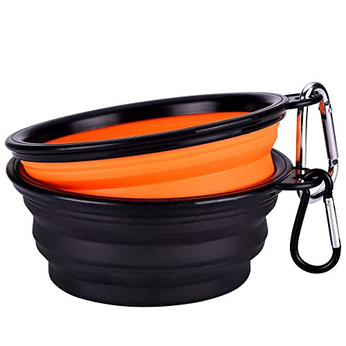 Collapsible Travel Silicone Dog Bowl Portable Pet Food Water Bowl, Set of 2
