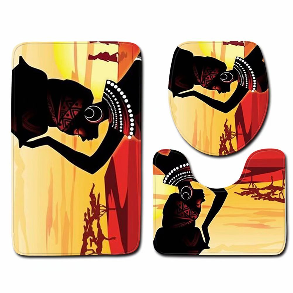Bailunder 3 Piece Bathroom Mat Set, Traditional African Women Girl In Desert Extra Soft Non-Slip Bath Mat Combo, Skidproof Toilet Seat Cover Bath Mat Lid Cover
