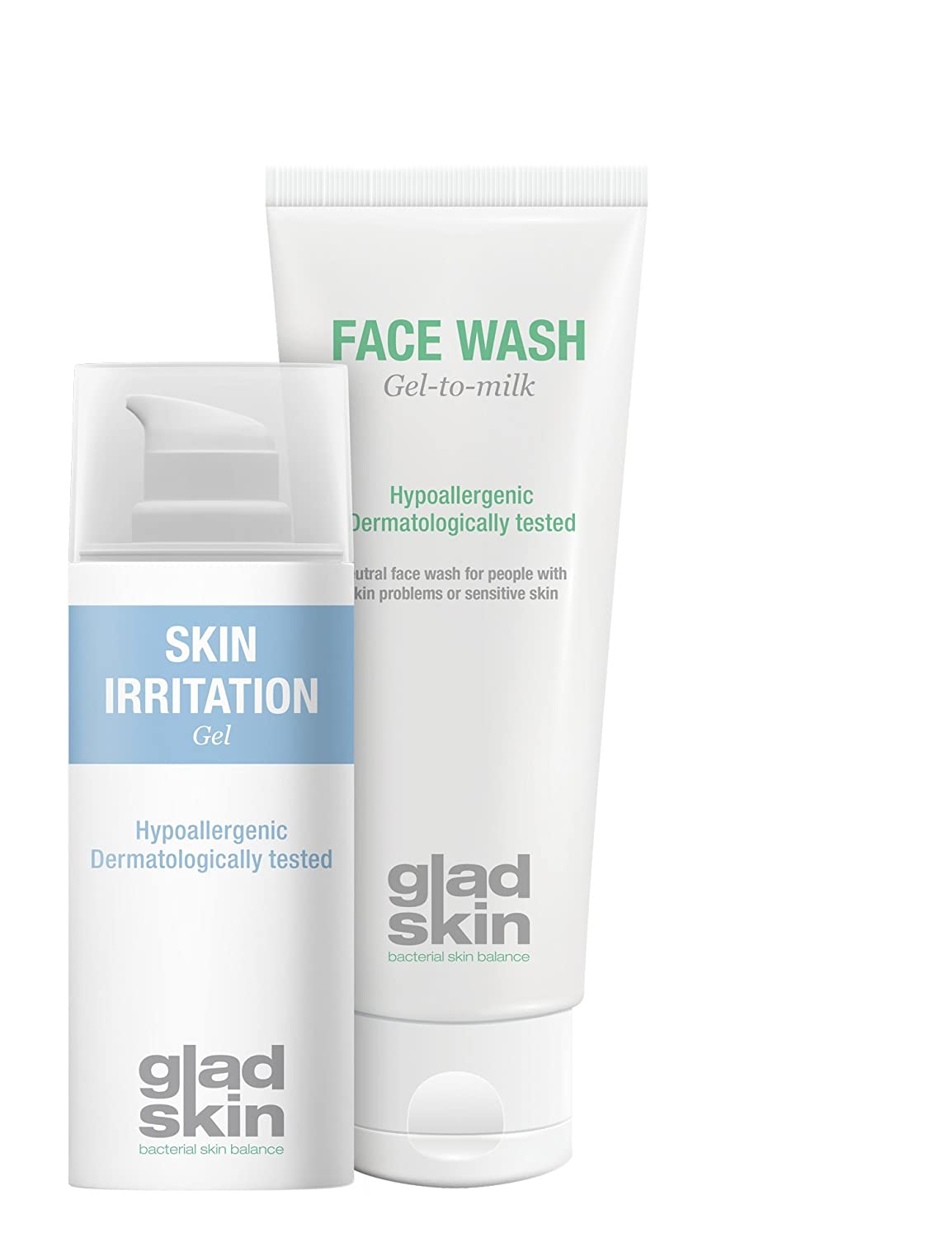 Gladskin Skin Irritation Gel 30ml & Face Wash 75ml Cleansing Set (combination pack) -alleviates skin irritation and prevents pimples and redness Micreos Human Health
