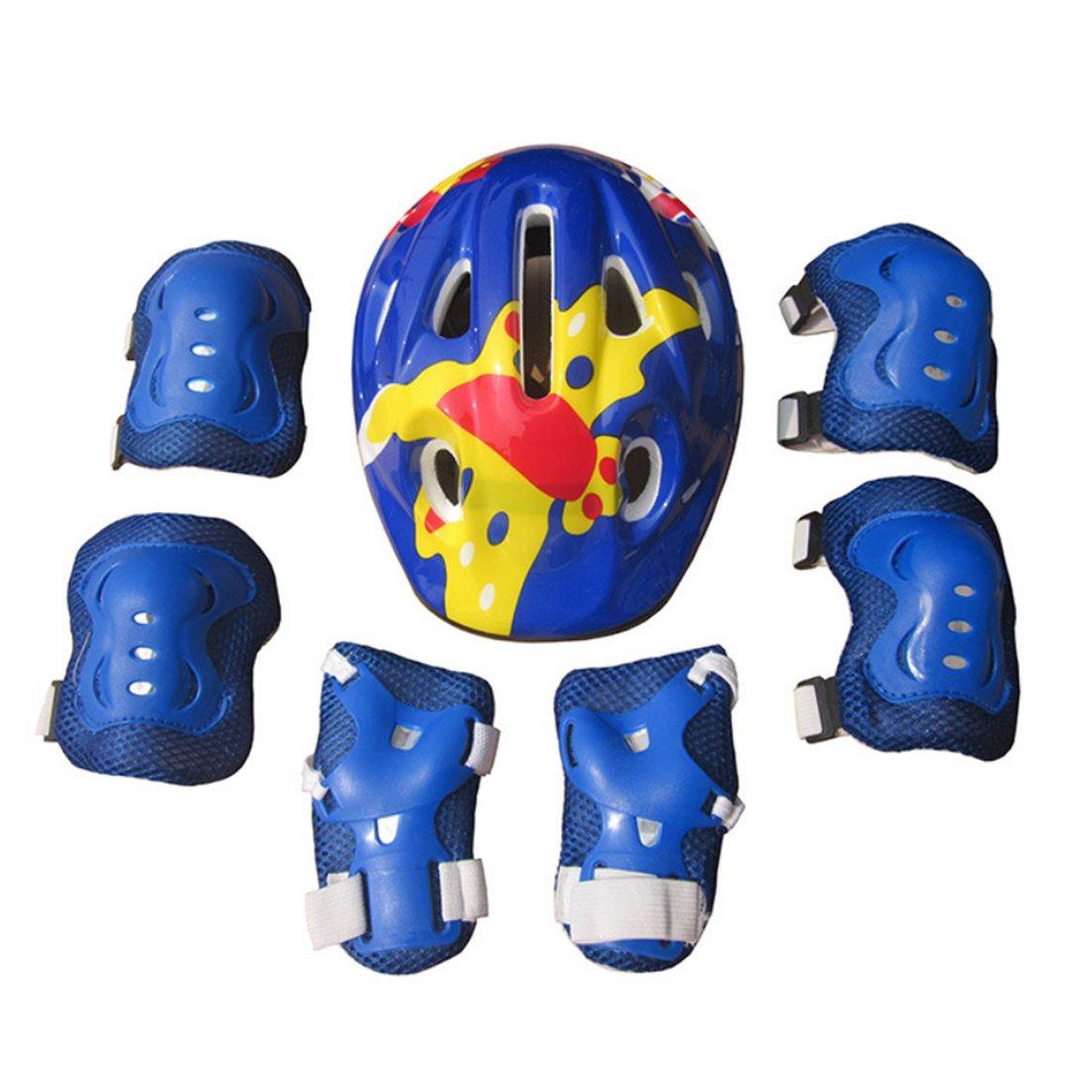 GODNECE Kinder Schutzausr/üstung Set Protektoren Set Kinder Ellbogensch/ützer Kinder Kniesch/ützer Handgelenkschutz Helm,7 St/ücke