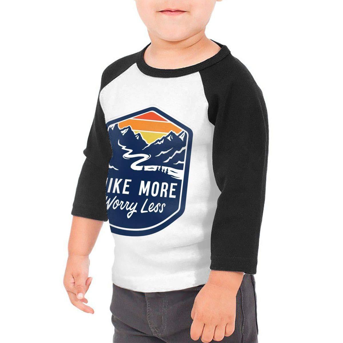 Hike More Worry Less Kids Jersey Raglan T-Shirt Children 3//4 Sleeve Baseball Shirt Top
