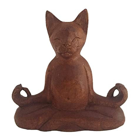 Amazon.com: OMA - Estatua de meditación de gato tallada en ...