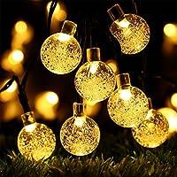 Luces de cuerda con temporizador a batería Globe con temporizador - RECESKY 30 LED 17.5 pies Decoración con bola de cristal Iluminación para exteriores Casa de fiesta en el jardín Ornamento de guirnaldas Decoraciones para árboles de Navidad - Blanco