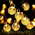 Globe Battery Operated String Lights with Timer, RECESKY 30 LED 17.5ft Waterproof Crystal Ball Decor Lighting for Outdoor Indoor Garden Yard Party House Christmas Ornament Decorations (Warm White)