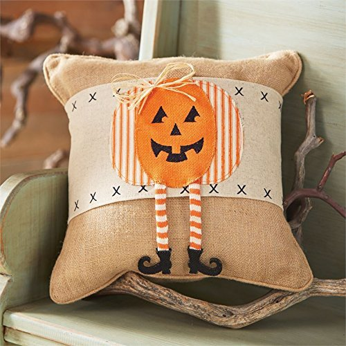 Mud Pie Halloween Home Decor Linen Pumpkin Dangle Leg Pillow Wrap -