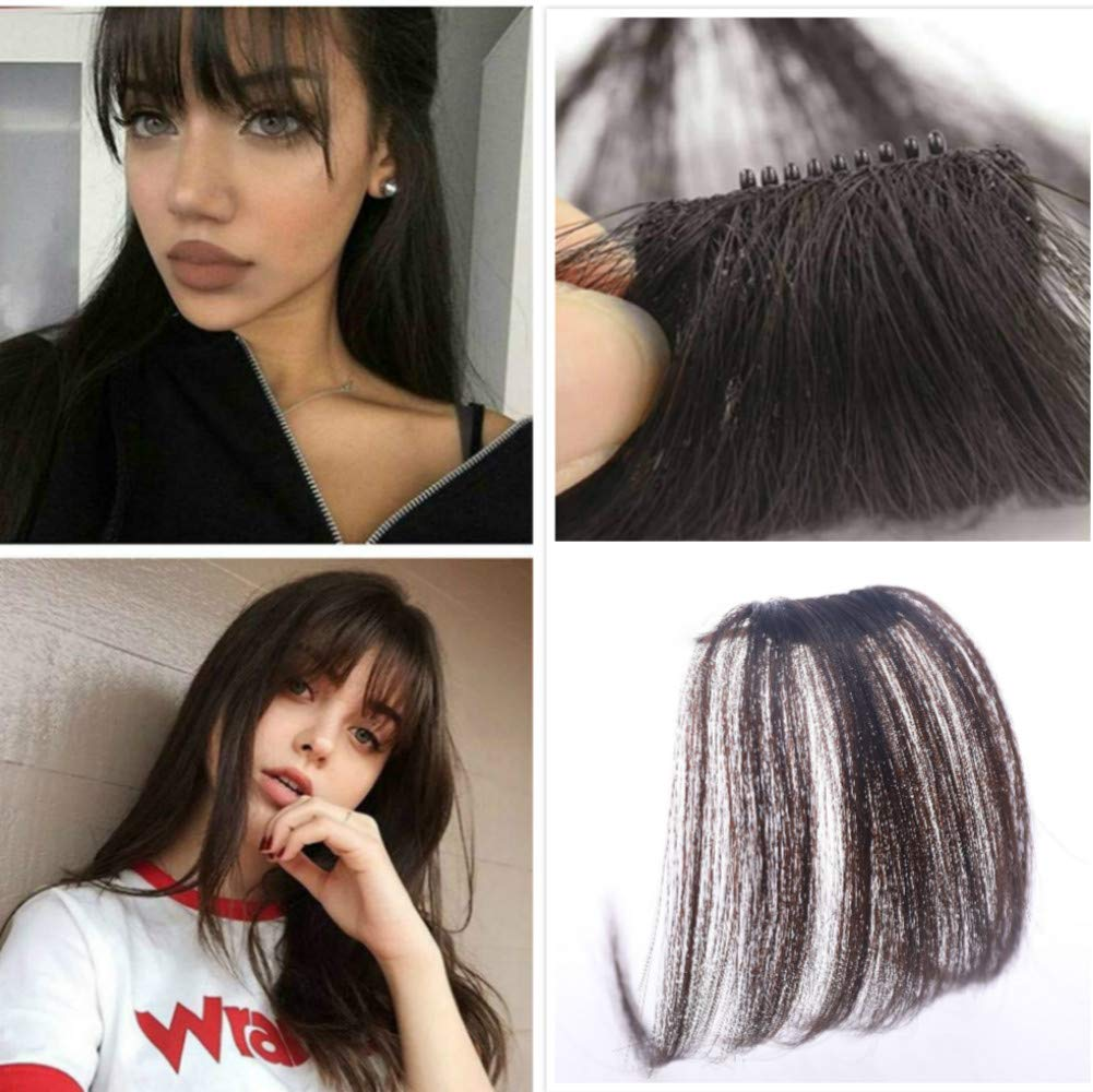 Alanber Front Fringe Hair Bangs Darkest Brown Clip in Hair Extensions One Piece Straight Air Fringe Hair Piece Accessories with Hair Temples by Alanber